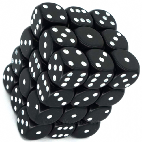 Black & White Opaque 12mm D6 Dice Block